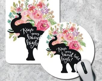 Quote Mousepad, Keep Your Head, Watercolor Mouse Mat, Elephant Mousepad, Floral Mouse Pad, Custom Mousepad, Office Decor, Desk Accessory
