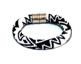 "Bead crochet bracelet with geometric pattern - Beaded Crochet bracelet - ""Fishes of Peru in black-and-white color"""