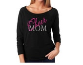 Cheer Mom Shirt. Cheer Spirt. Sports Mom Shirt.Cheerleader. Off Shoulder Shirt. Cheer Mom Apparel. Custom Off Shoulder. 3/4 Sleeve Shirt