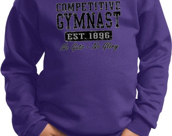 Kid's Gymnastics Sweatshirt Competitive Gymnast No Guts-No Glory Sweat Shirt NOGUTS-PC90Y