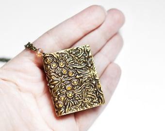Gold book necklace Teacher gift Mini book pendant Book lover jewelry Mini book charm Small book gift Vintage book gift Book worm gift Books