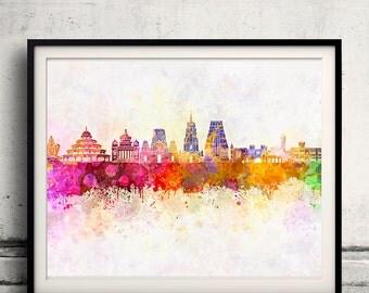 Bangalore skyline in watercolor background - Poster Digital Wall art Illustration Print Art Decorative - SKU 1398