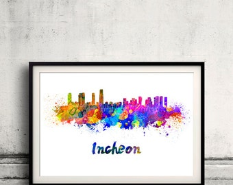 Incheon skyline in watercolor over white background with name of city - Poster Wall art Illustration Print - SKU 1468