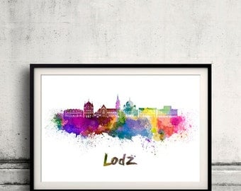 Lodz skyline in watercolor over white background with name of city - Poster Wall art Illustration Print - SKU 1576