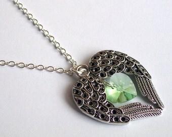 Angel Wings Necklace ~ Angel Wings Heart ~ Peridot Swarovski Heart ~ Angel Jewellery ~ Angel Wings