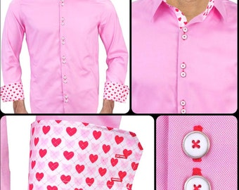 Men's Designer Dress Shirt for Valentines Day - Made To Order in USA