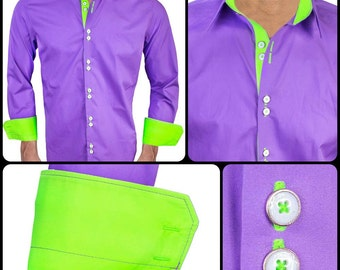 Purple with Neon Green  Designer Dress Shirt - Made in USA