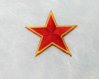 Red Star Iron on Patch - Red Star Applique Embroidered Iron on Patch - Size 4.5x4.1 cm )