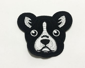 Dog Iron On Patch(M) -Dog Head Applique Embroidered Iron on Patch-Size 7.5x6.5cm