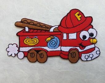 Fire Engine Cartoon Iron on patch (L) 10.7 x 6.3 cm - Fire Engine Cartoon Applique Embroidered Iron on Patch