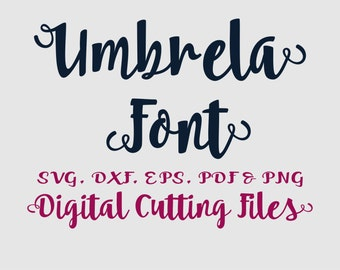 Alphabet Cutting FONT Svg Digital Letter Cut Files - Svg Dxf Eps Umbrella Alphabet Cut files for Silhouette, Cricut - Brush Font Cutfiles