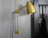 Articulating brass lamp -  Irwin - Task Sconce - Plug in wall light - Industrial Modern
