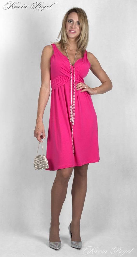 1 Cyclamen Bridesmaid Dress /  Stretch Cocktail Dress / Cyclamen Dress / Sleeveless  Dress / KARIN # 12-034-01-500-00