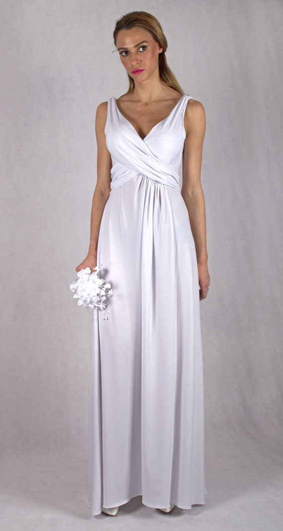 White Bridesmaid Evening Dress / Sheath Stretch Dress / White Dress / Wedding Sleeveless Dress / KARIN # 12-035-10-00