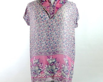 1970s Pink & Blue Block Print Indian Cotton Blouse with Cap Sleeves - Deadstock - Medium