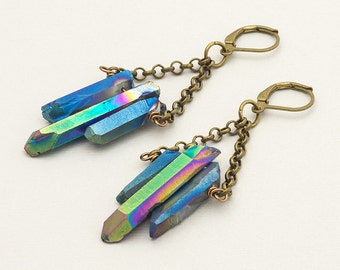 Rainbow Metallic Raw Titanium Quartz Earrings Bronze Crystal Point Green Iridescent Aura Quartz Festival Earrings Boho Gemstone Jewelry