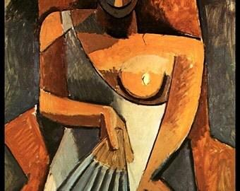 "Picasso, Pablo Picasso Print, Picasso Art Print, Picasso Paintings,""Frau mit Facher"", Circa 1908, Vintage Book Page Print"
