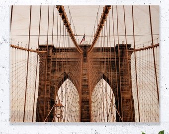 New York Print On Wood, Brooklyn Bridge Art, Brooklyn Bridge Print, Brooklyn Bridge Painting, New York Wall Art, New York Gift Idea, NYC