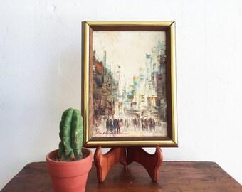 Vintage Original Signed Painting / Vintage Oil On Canvas Artwork / Small Painting