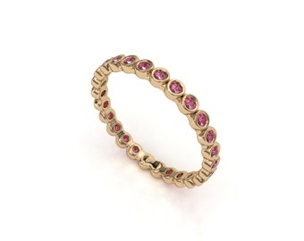 14K Rose Gold Natural Genuine Ruby Gemstone Full Eternity Stackable Wedding Anniversary Ring band women jewelry Bezel Set