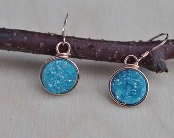 Blue Druzy Drop Earrings