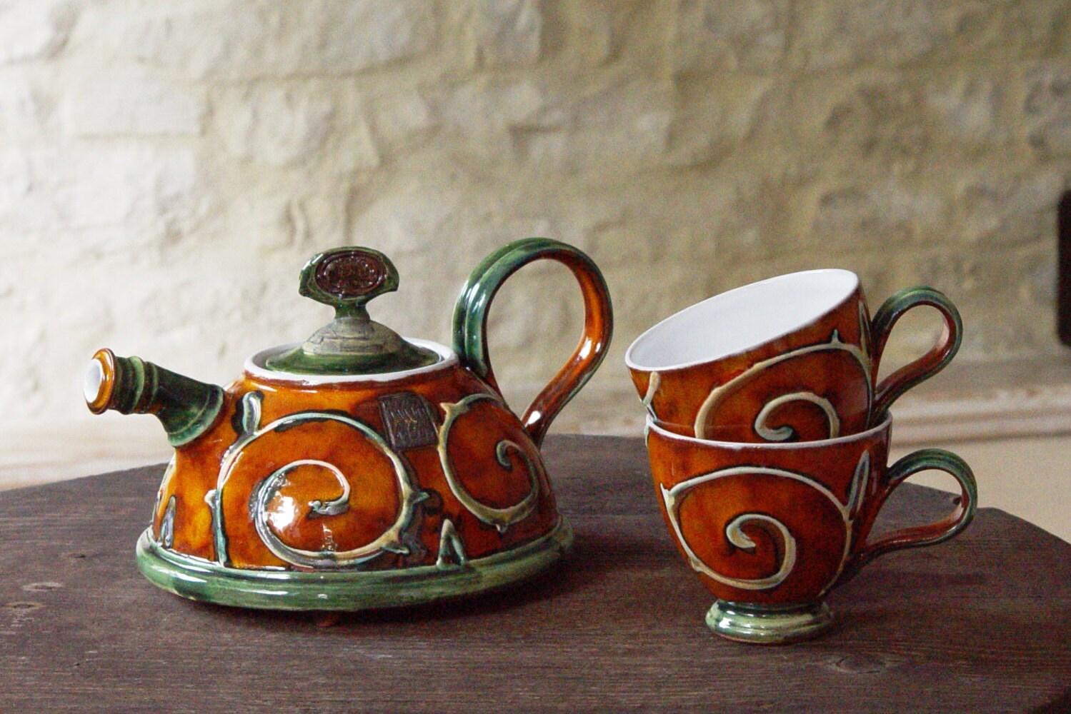 Handmade Ceramic Teapot Pottery Coffee Pot Wedding Gift Tea