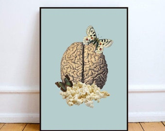 "Brain art print, popcorn wall art, surreal collage art poster, original collage art, minimalist wall art, food art print - ""Holy PopCorn""."