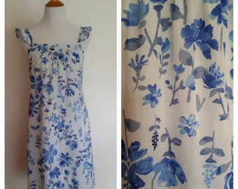 Cotton sundress, XS, S, wildflower dress, blue floral dress, ruffled sundress, blue sundress, cotton dress, blue dress, summer dress