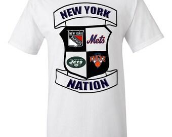New York Nation T-Shirt, New York Mets, Jets, Rangers, Knicks, NY Mashup T-Shirt