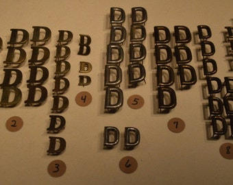 Vintage Solid Brass and Nickel Harness Letters - D
