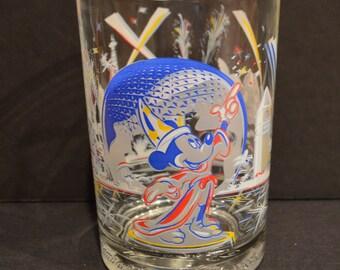 Walt Disney World 25th Anniversary McDonalds Glass-EPCOT World Showcase Mickey