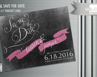 Chalkboard Save the Date Magnets - Custom Save-the-Date Magnet Cards - Ribbon style Magnetic Cards - Bespoke Engagement Cards Engaged CASAL