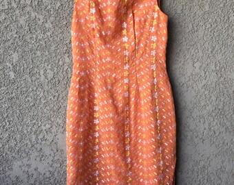 Orange Asian style pencil dress