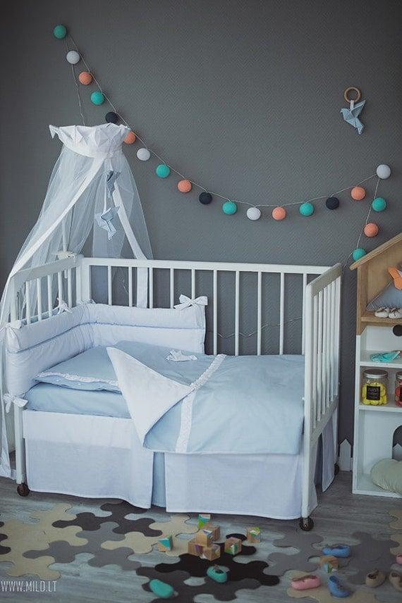 Baby Bedding Set Origami Grey Crane Neutral Nursery By