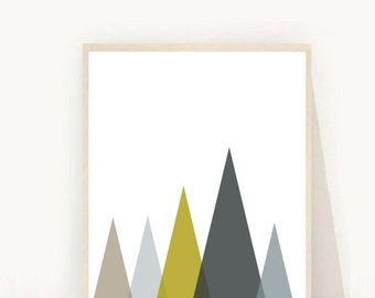 Geometric Art Print,  Printable Wall Art, Triangles Print, Instant Download, Modern Wall Art, Mountain Print, Grey Yellow Triangles