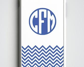 Blue Chevron Monogrammed Phone Case, Personalized iPhone Case, iPhone 4, 4s, iPhone 5, 5s, 5c, iPhone 6, 6s, 6 Plus, iPhone SE, Phone Case