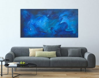 Modern Abstract Painting, Blue Abstract Textured Painting, Blue Painting, Water Painting, Large Painting