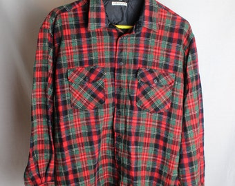 Flannel Button Up Shirt - Vintage Flannel Shirt - Van Heusen Wool Shirt - Men's Size XL
