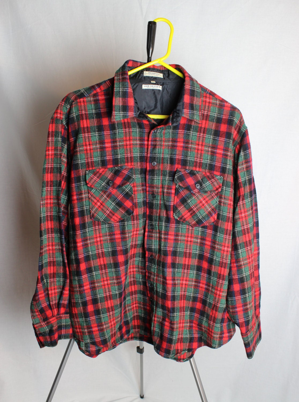 Flannel button up shirt vintage flannel shirt van heusen for Button up flannel shirts