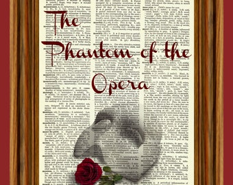 The Phantom of the Opera Upcycled Dictionary Art Print Poster
