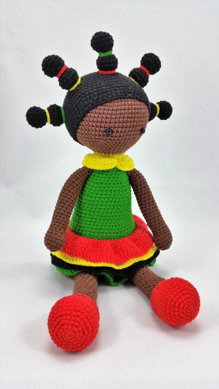 Crochet doll with rasta dress amigurumi doll crocheted doll