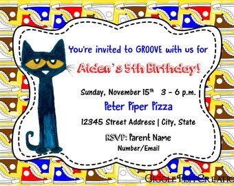 "Pete the Cat Birthday Party Invitation - ""White Shoes"" 