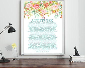 Charles Swindoll Print, Attitude Quote, Watercolor flower Print, on white poster paper, 13X19 Print, Inspirational Quote, Motivational Quote