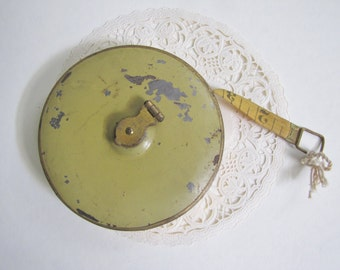 Lufkin 66 foot Tape, Vintage Lufkin Tape Measure, Olive Green Tape, 66 Foot Tape, Vintage Tool, Cloth Measuring Tape