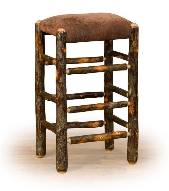 Kitchen Bar Stools Usa: Rustic Hickory On Hickory Square Bar Stool 24 Inch OR 30