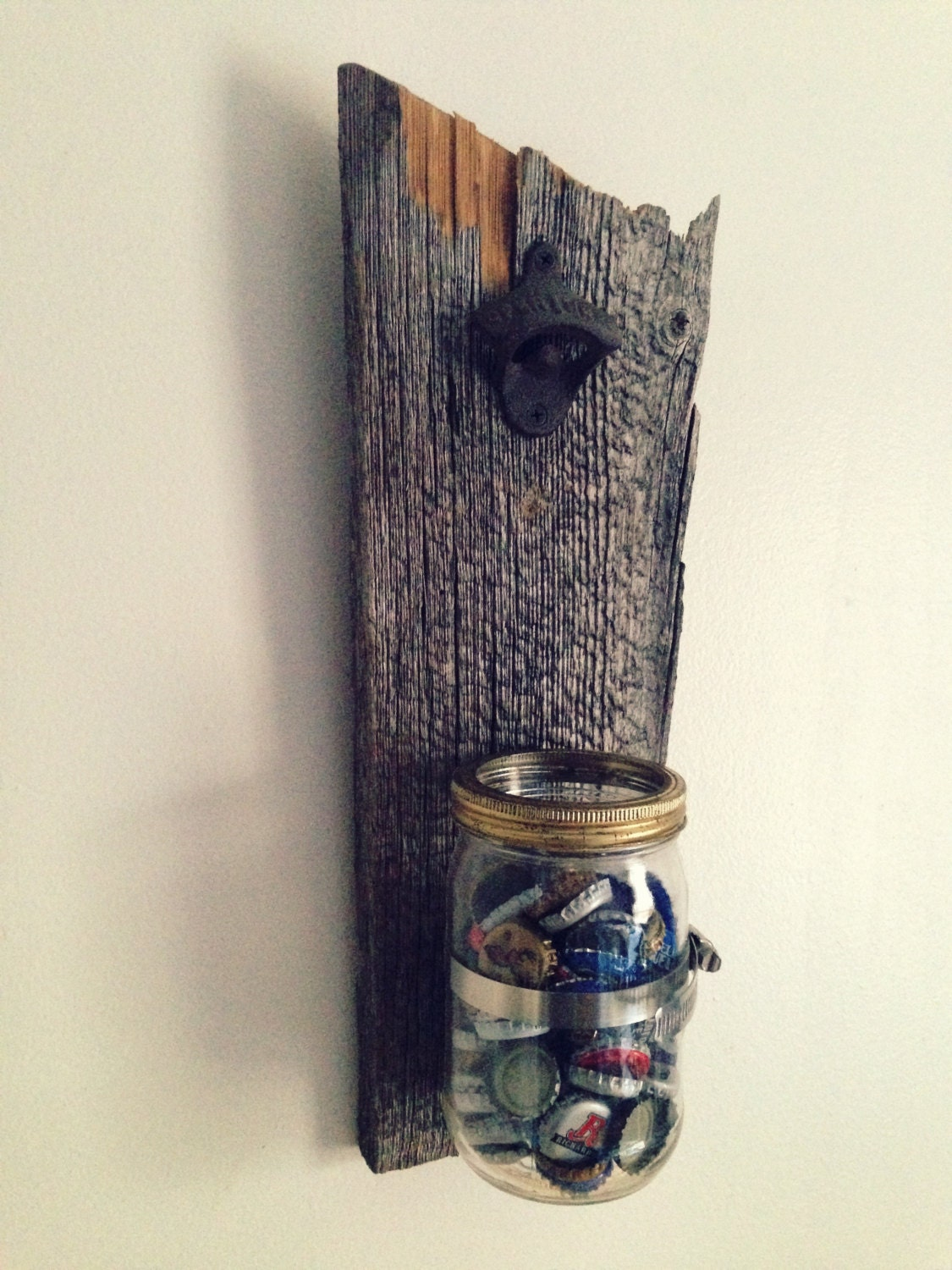 wall mount bottle opener rustic bottle opener by amorfatiartisan. Black Bedroom Furniture Sets. Home Design Ideas
