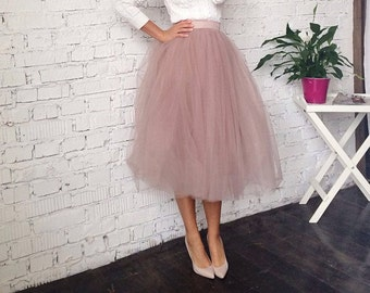 Dusty rose Tulle Skirt - bridal shower outfit - Tea Length skirt- wedding adult Tutu - bridal party skirt - Midi Skirt - Custom skirt