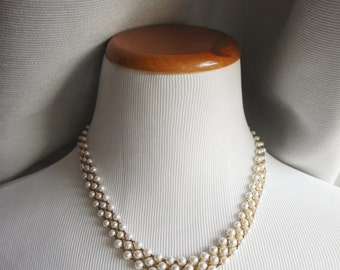 Gold and Mini-Pearl Necklace