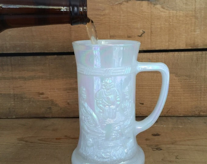 Federal Glass Beer Mug,  Half Pint Beer Mug, Iridescent Beer Glass, Beer Stein, Vintage Beer Mug
