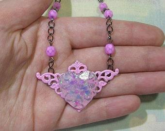 Heart Head Chain, Pastel Goth Head Chain, Heart Circlet, Heart Hair Chain, Heart Headpiece, Cult Party Kei Hair Jewelry, Pop Kei